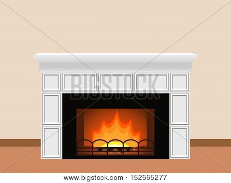 White fireplace with fire and firewood. Elements of home design. Vector illustration.