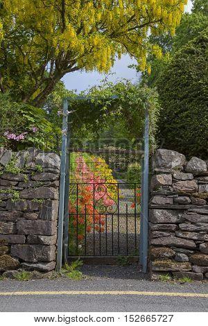 Cottage garden, Grasmere, The Lake District, Cumbria, England