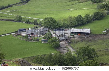 Cumbrian farm from Helm Crag, The Lake District, England