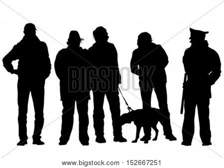 Man with a dog on a leash on a white background