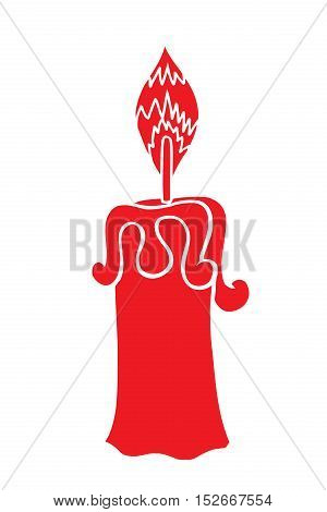 Vector Sketch Red Candle. Process of Candle Burning. vector illustration isolated on a white background
