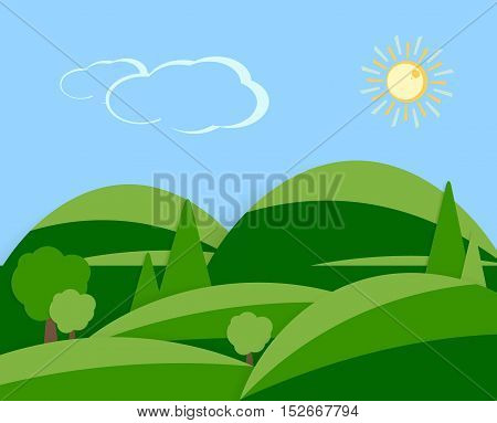 Bright daytime rural  scenic with mountains in background. Flat style vector illustration.Eps10