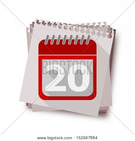 Red Calendar with long shadow - Vector Icon number 20