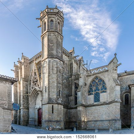 CARCASSONNE,FRANCE - AUGUST 30,2016 - Basilica of Saint Nazaire in Carcassonne. Carcassonne is a fortified French town in the Aude department.