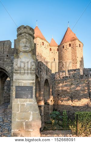 CARCASSONNE,FRANCE - AUGUST 30,2016 - Enter Relief near Narbonnaise Gate in Carcassonne. Carcassonne is a fortified French town in the Aude department.