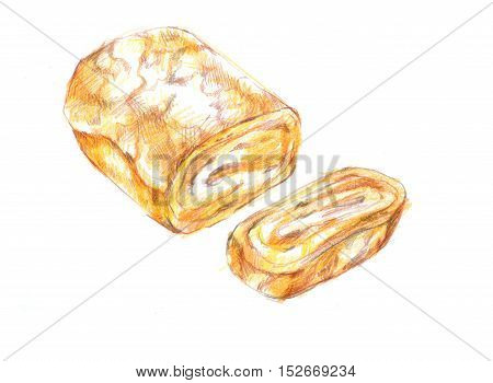 Fresh Tamagoyaki, Japanese Sweet Egg Roll Grill Drawing Illustration