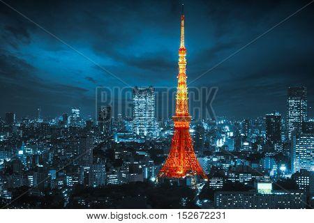 Nighttime view of Tokyo tower Tokyo city skyline Tokyo Japan