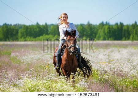 Portrait of beautiful female equestrian galloping on bay horse in flowery meadow