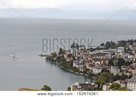 Montreux is a town and a political comune in the district of Riviera-Pays-d'Enhaut of the canton of Vaud in Switzerland on the shores of lake Geneva
