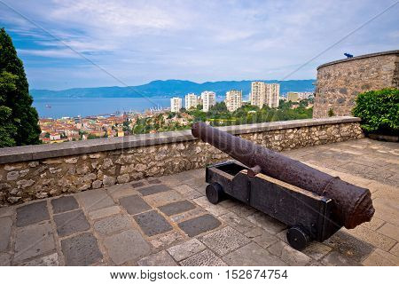 Cannon above city of Rijeka Kvarner Croatia