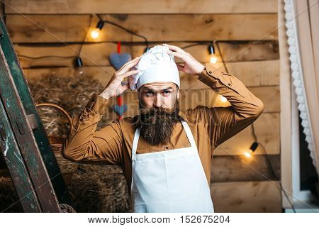 Handsome Bearded Chef Cook
