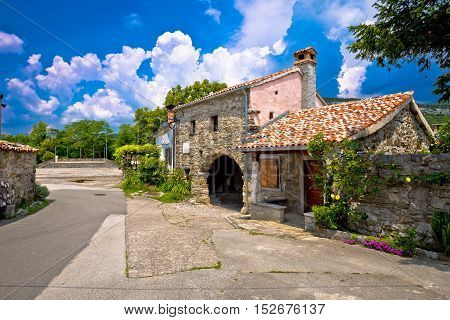 Old stone town gate and architecture of Roc Istria Croatia