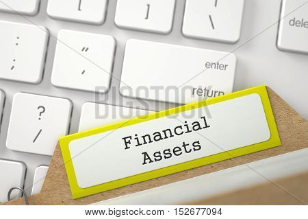 Yellow Sort Index Card with Financial Assets Concept on Background of White Modern Keypad. Close Up View. Selective Focus. 3D Rendering.
