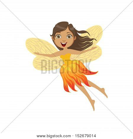Cute Fire Fairy Girly Cartoon Character.Childish Design Fairy-tale Creature Simple Adorable Illustration.