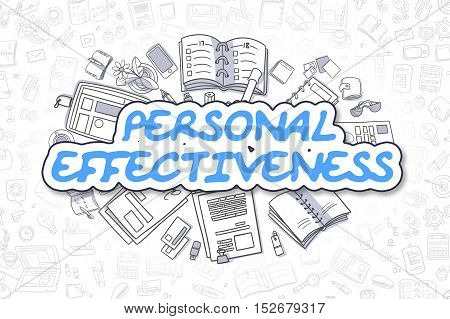 Cartoon Illustration of Personal Effectiveness, Surrounded by Stationery. Business Concept for Web Banners, Printed Materials.