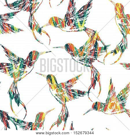 Tropical Seamless Pattern With Bird.