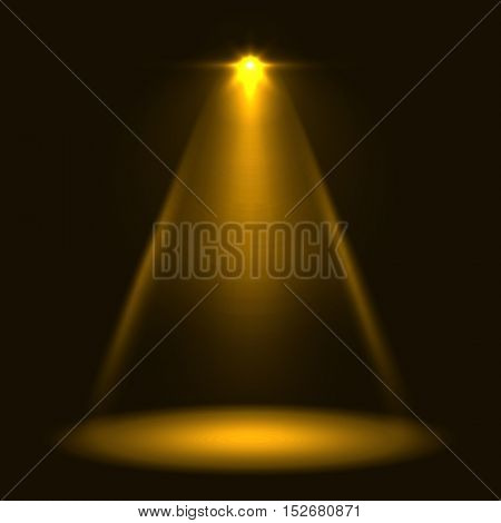 Abstract yellow warm stage spotlight vector background. Layered eps10 file light template.