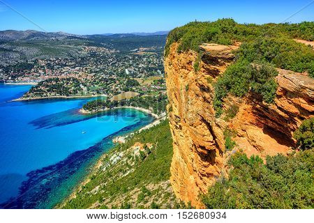 View of Cassis town Cap Canaille rock and Mediterranean Sea from Route des Cretes mountain road Provence France