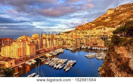 View Of The Port Fontvieille On Sunrise, Monaco, France