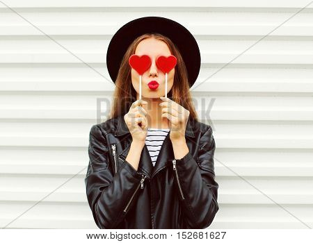 Fashion Portrait Pretty Sweet Young Woman With Red Lips Making Air Kiss With Lollipop Heart Wearing