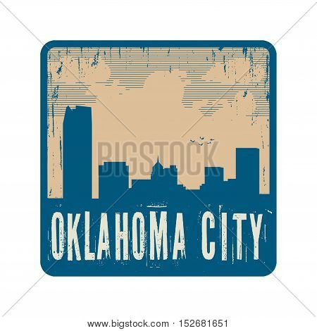 Grunge vintage stamp with text Oklahoma City vector illustration