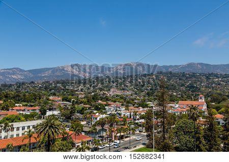 The Tile rooftops of Santa Barbara California