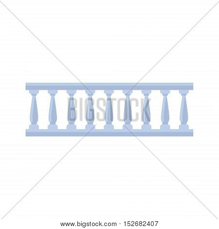 Classic Marble Balcony Fence Design Element Template. Edging Creative Landscape Idea Icon On White Background.