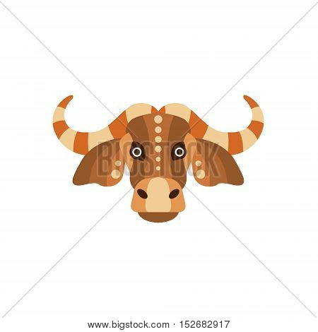 Zebu Bull African Animals Stylized Geometric Head. Flat Colorful Vector Creative Design Icon Isolated On White Background