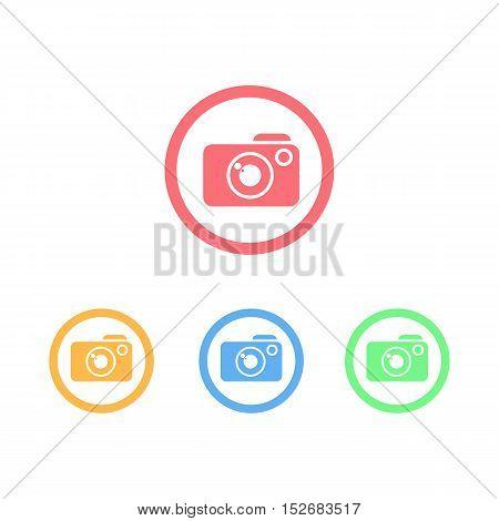 Colorful Set of Circle Ring Camera Logo or Icon