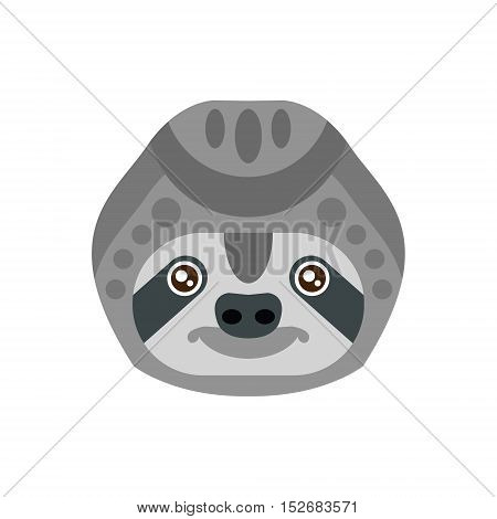 Sloth African Animals Stylized Geometric Head. Flat Colorful Vector Creative Design Icon Isolated On White Background