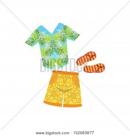 Shirt, Swimshorts And Flip-Flops Hawaiian Vacation Classic Symbol. Isolated Flat Vector Icon With Traditional Hawaiian Representation On White Bacground.