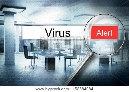reading the word virus browser search security alert 3D Illustration