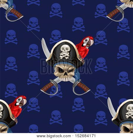 Blue Seamless Background Wirh Jolly Roger In Hat With Parrot