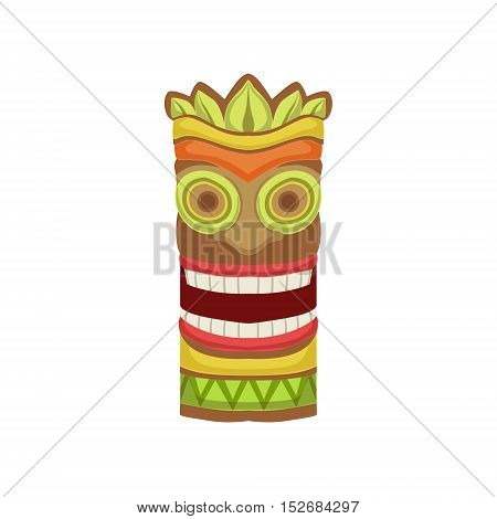 Smiling Totem Hawaiian Vacation Classic Symbol. Isolated Flat Vector Icon With Traditional Hawaiian Representation On White Bacground.