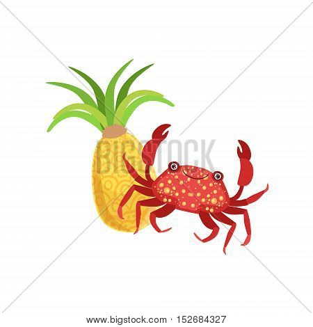 Crab And Pineapple Hawaiian Vacation Classic Symbol. Isolated Flat Vector Icon With Traditional Hawaiian Representation On White Bacground.