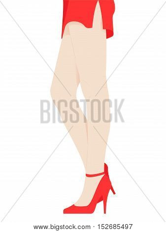 Hand Drawn Female Legs in Red Shoes on High Heels. Graceful Woman's Legs in a Short Red Skirt with a Slit isolated on White.Vector Illustration.