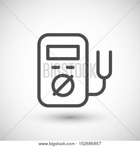 Electronic multimeter line icon isolated on grey. Vector illustration