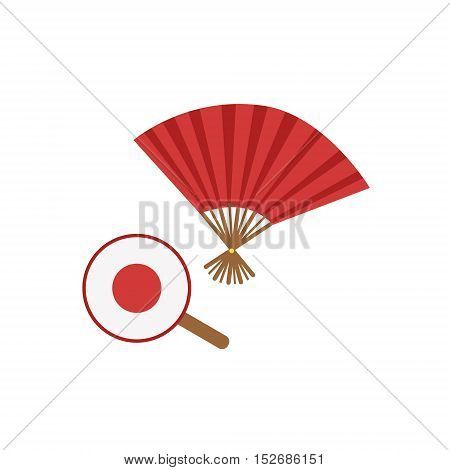 Paper Fans Japanese Culture Symbol. Isolated Object Representing Japan On White Background