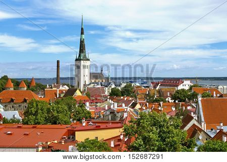 View of Tallinn Old Town with red roofs and St.Olaf´s Church (Estonia).
