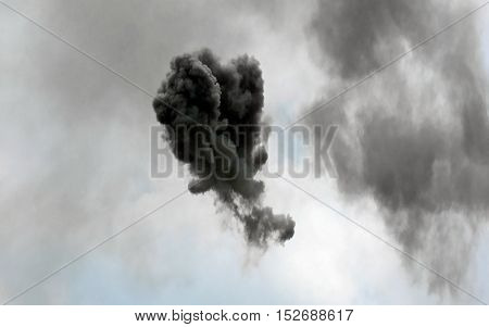 Shocking Black Cloud After The Explosion Of The Rocket