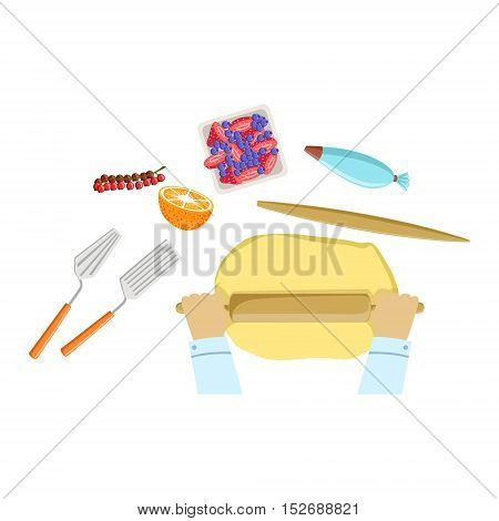 Child Rolling The Dough Illustration With Only Hands Visible From Above. Kids Art And Craft Lesson Colorful Cartoon Cute Vector Picture.