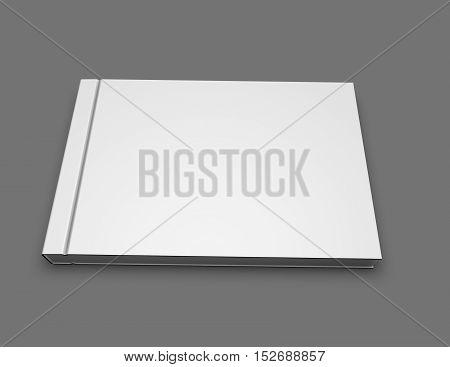 Photo book album blank hardcover landscape orientation mock up 3D rendering.