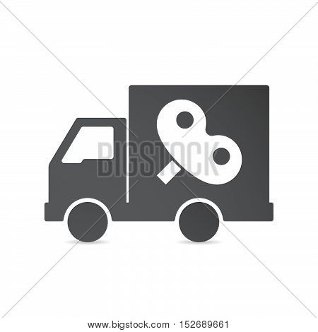 Isolated Delivery Truck With A Toy Crank