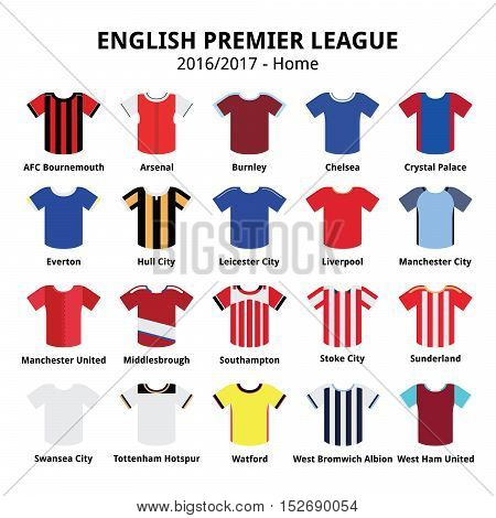 English Premier League 2016 - 2017 football or soccer jerseys icons set