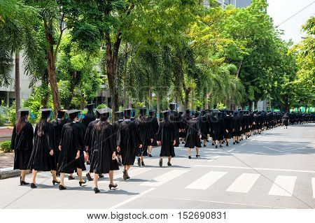 Back of graduates during commencement at university. Graduate walking.