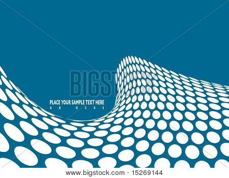 Illustrated green wave swell background made out of white dots