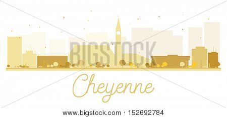 Cheyenne City skyline golden silhouette. Vector illustration. Simple flat concept for tourism presentation, banner, placard or web site. Business travel concept. Cityscape with landmarks