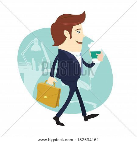 Business Man Happy Worker Walking Holding Coffee And Briefcase In Front His Office Working Space
