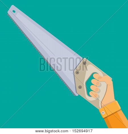 Hand and saw with hardened teeth. vector illustration in flat style