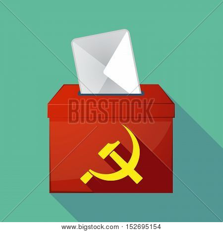 Long Shadow Ballot Box With  The Communist Symbol